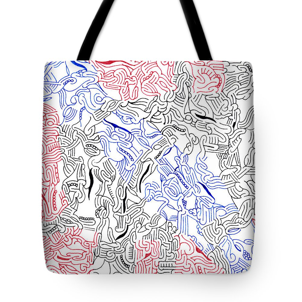 Mazes Tote Bag featuring the drawing Enigma by Steven Natanson