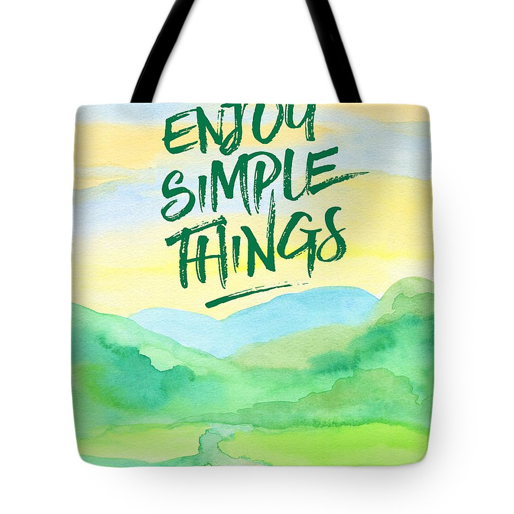 Rice Paddies Tote Bag featuring the painting Enjoy Simple Things Rice Paddies Watercolor Painting by Beverly Claire Kaiya