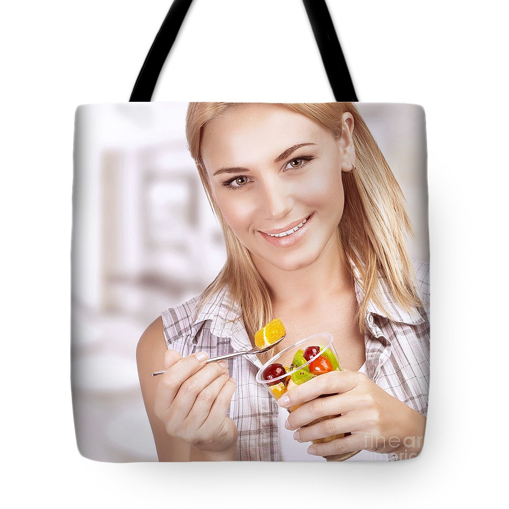Adult Tote Bag featuring the photograph Enjoying Healthy Nutrition by Anna Om