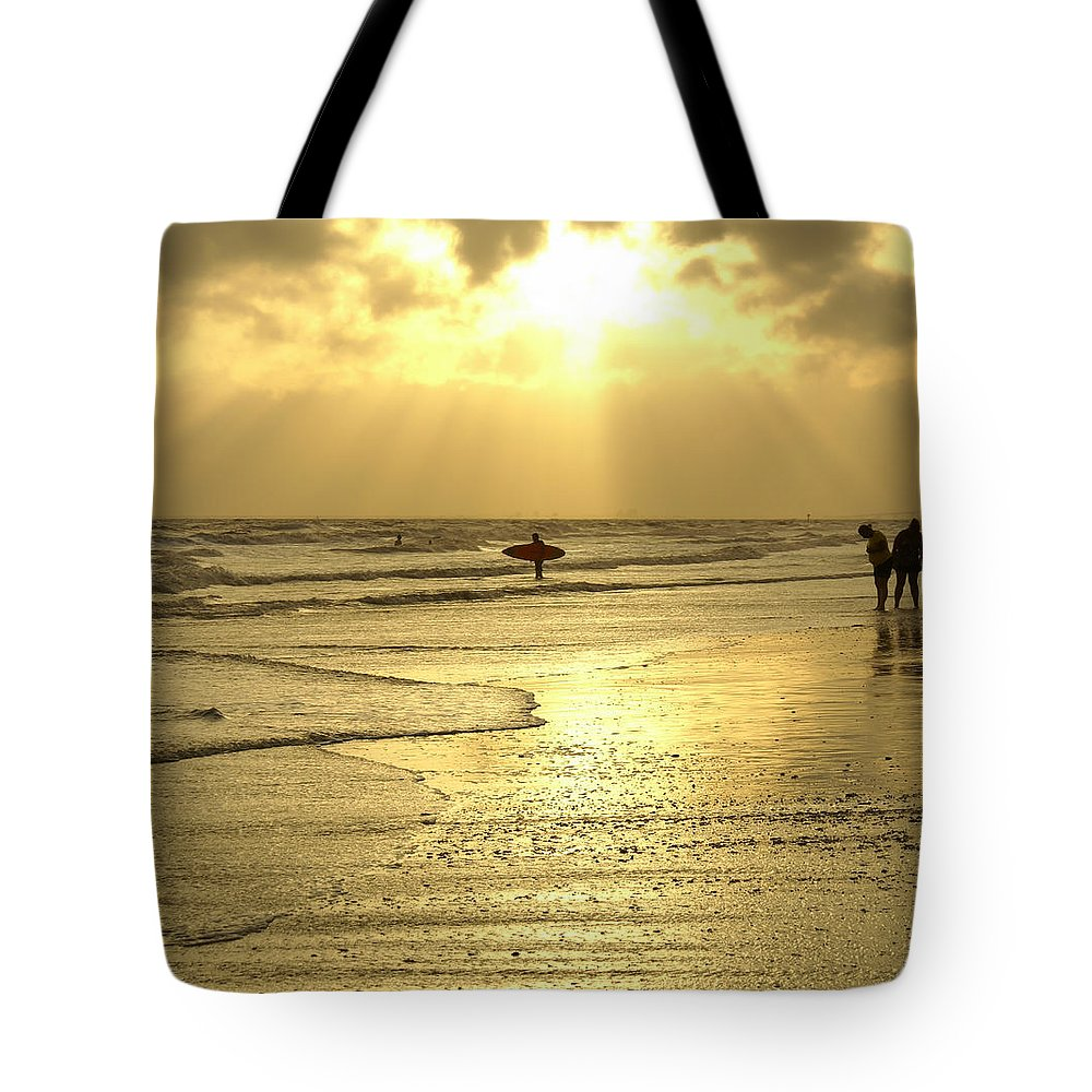 Beach Tote Bag featuring the photograph Enjoying The Beach At Sunset by Jennifer White