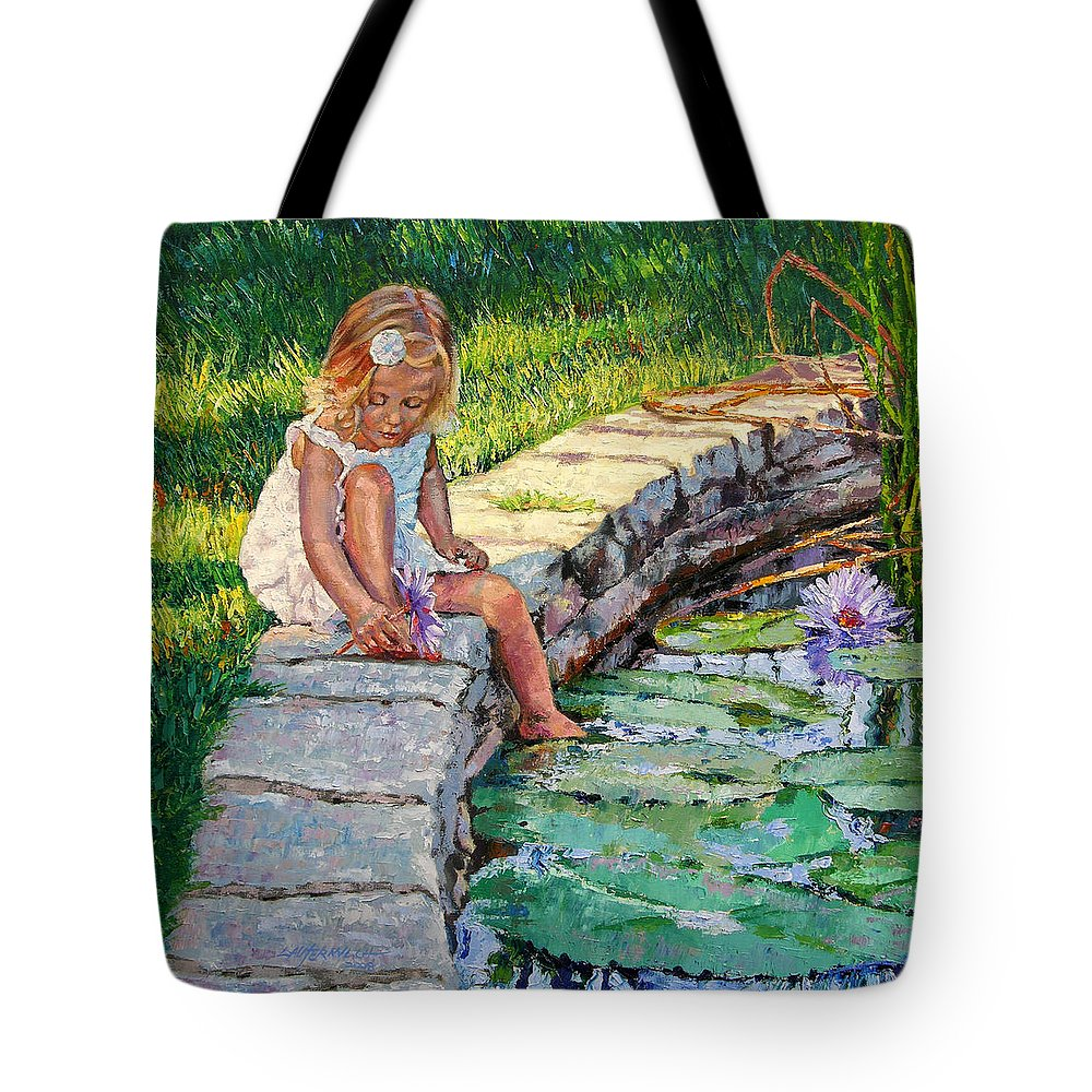 Small Girl Tote Bag featuring the painting Enjoying Yesterdays Sunlight by John Lautermilch