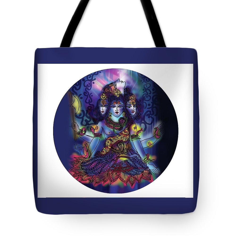 Shiva Tote Bag featuring the painting Enlightened Shiva by Guruji Aruneshvar Paris Art Curator Katrin Suter