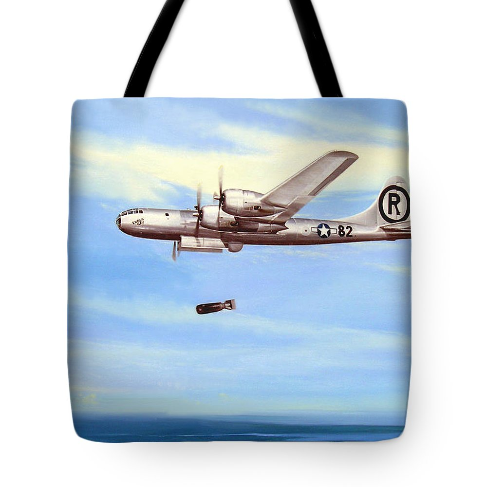 Military Tote Bag featuring the painting Enola Gay by Marc Stewart
