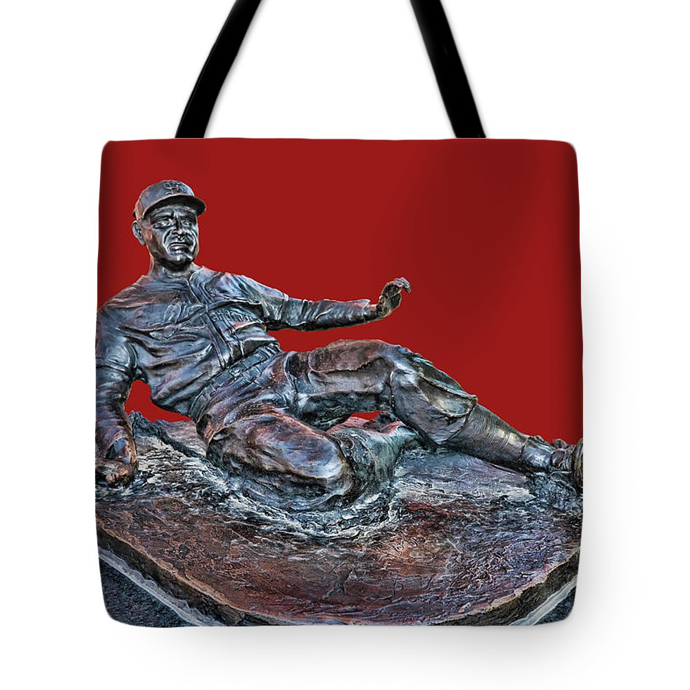 Enos Tote Bag featuring the photograph Enos Country Slaughter Statue - Busch Stadium by Allen Beatty