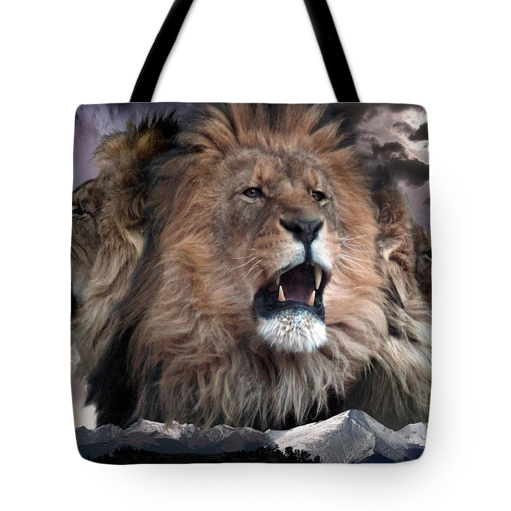 Lions Tote Bag featuring the digital art Enough by Bill Stephens