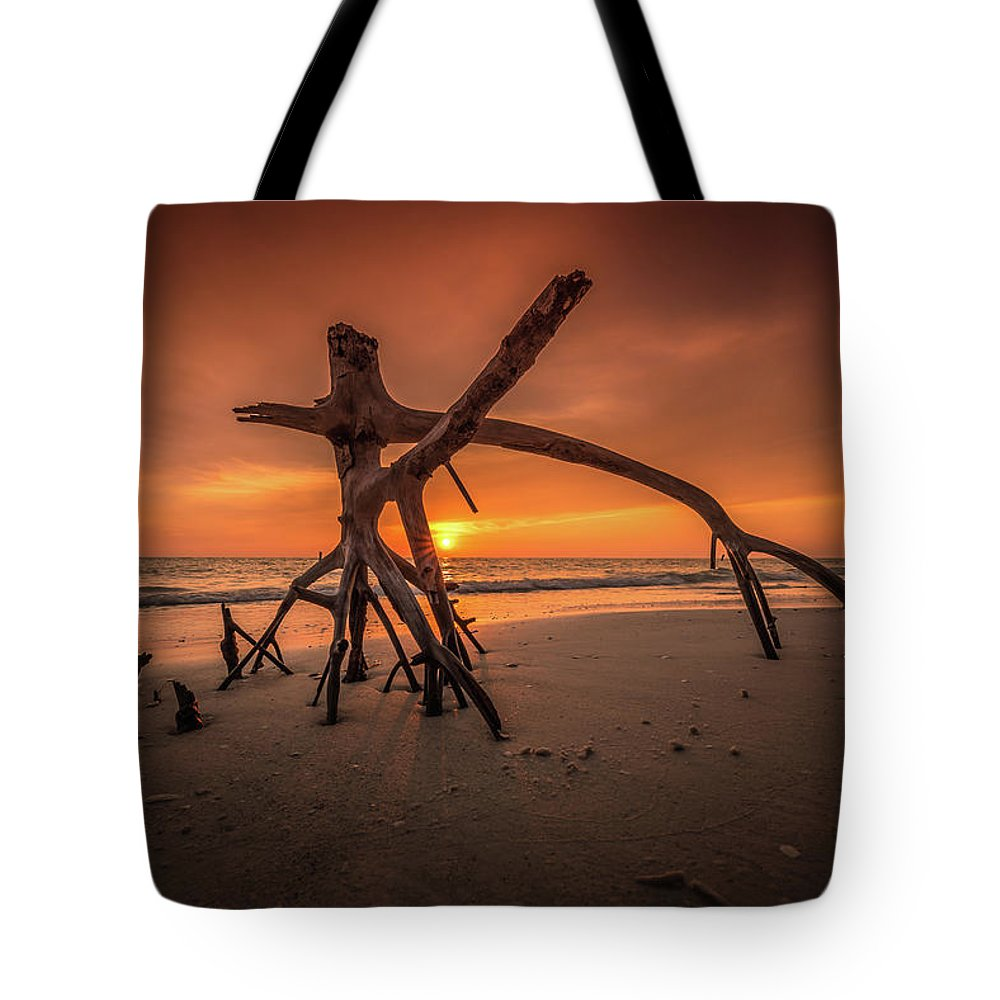 Landscape Tote Bag featuring the photograph Ensanguing Sky by Lawrence Morgan