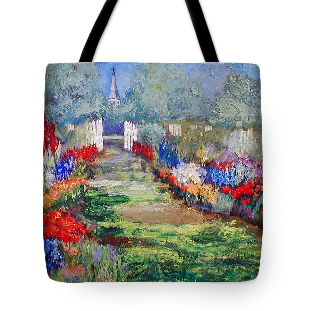 Landscape Tote Bag featuring the painting Enter His Gates by Gail Kirtz