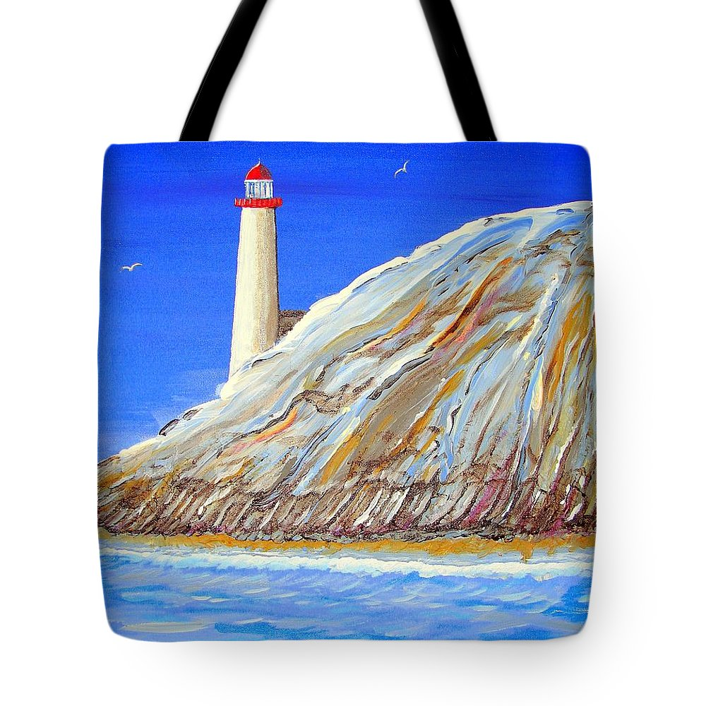 Lighthouse Tote Bag featuring the painting Entering The Harbor by J R Seymour