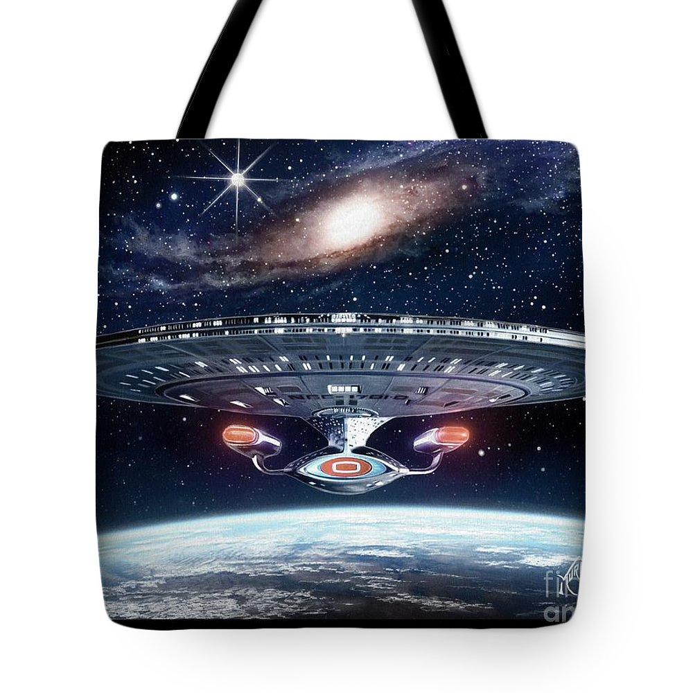 Pencil Tote Bag featuring the drawing Enterprise by Murphy Elliott