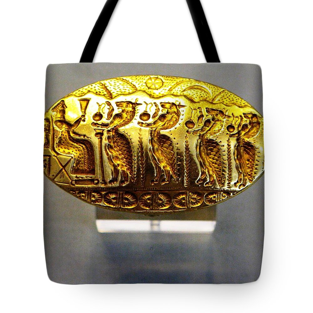 Mycenaean Signet-ring Tote Bag featuring the photograph Enthroned Goddess by Andonis Katanos