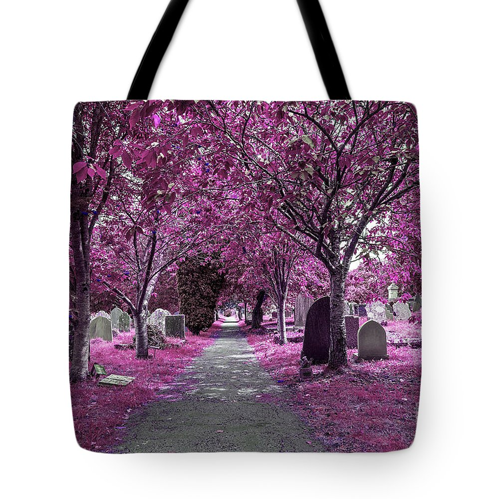 Cemetery Tote Bag featuring the photograph Entrance To A Cemetery by Sebastien Coell