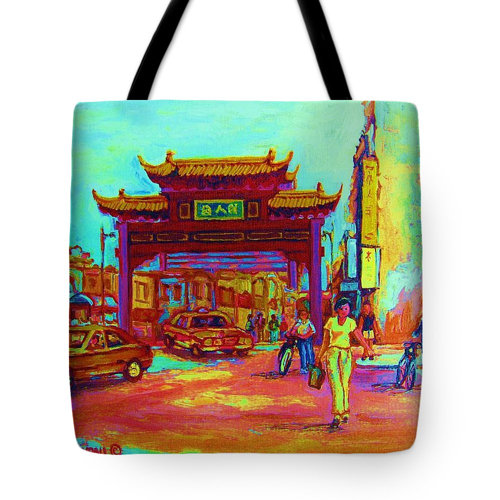 Montreal Tote Bag featuring the painting Entrance To Chinatown by Carole Spandau