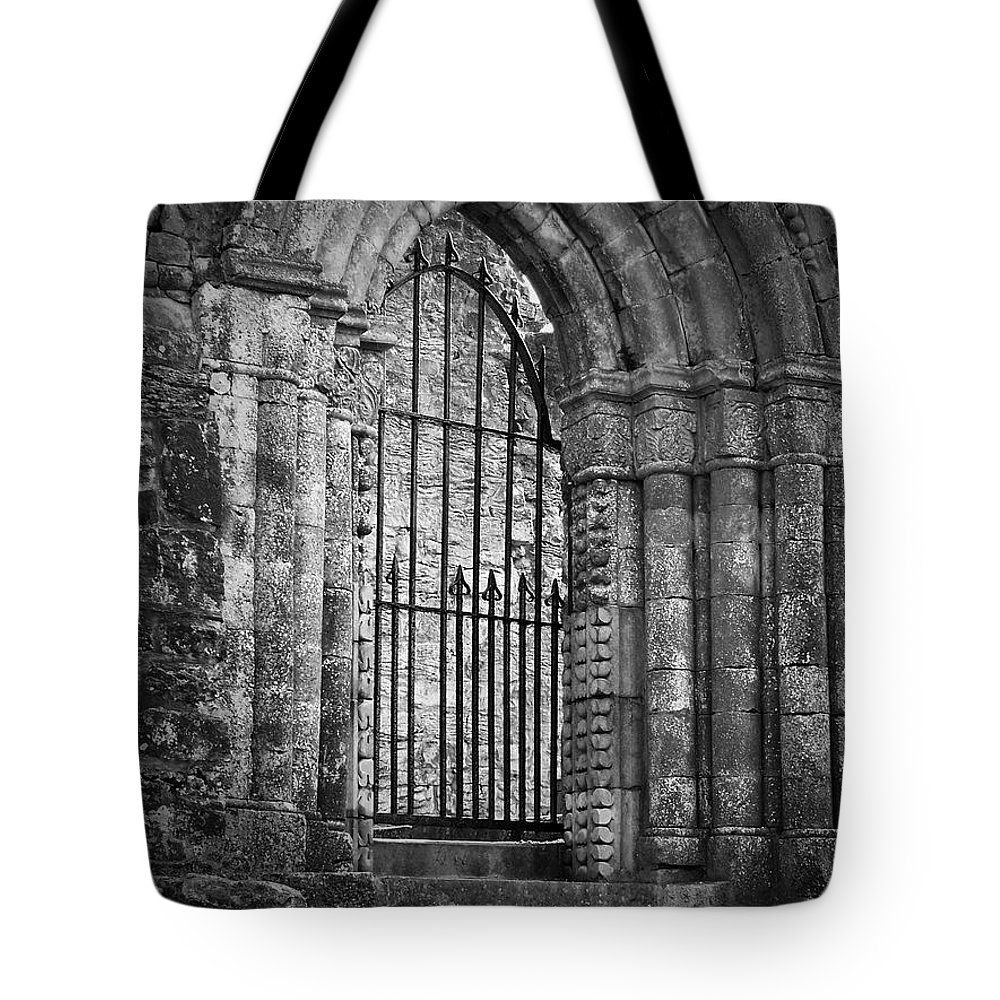 Irish Tote Bag featuring the photograph Entrance To Cong Abbey Cong Ireland by Teresa Mucha