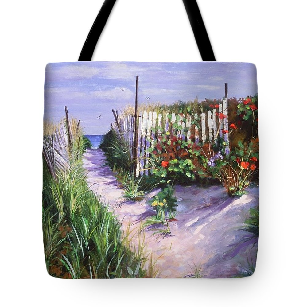 Seascape Tote Bag featuring the painting Entrance To Nantasket by Laura Lee Zanghetti