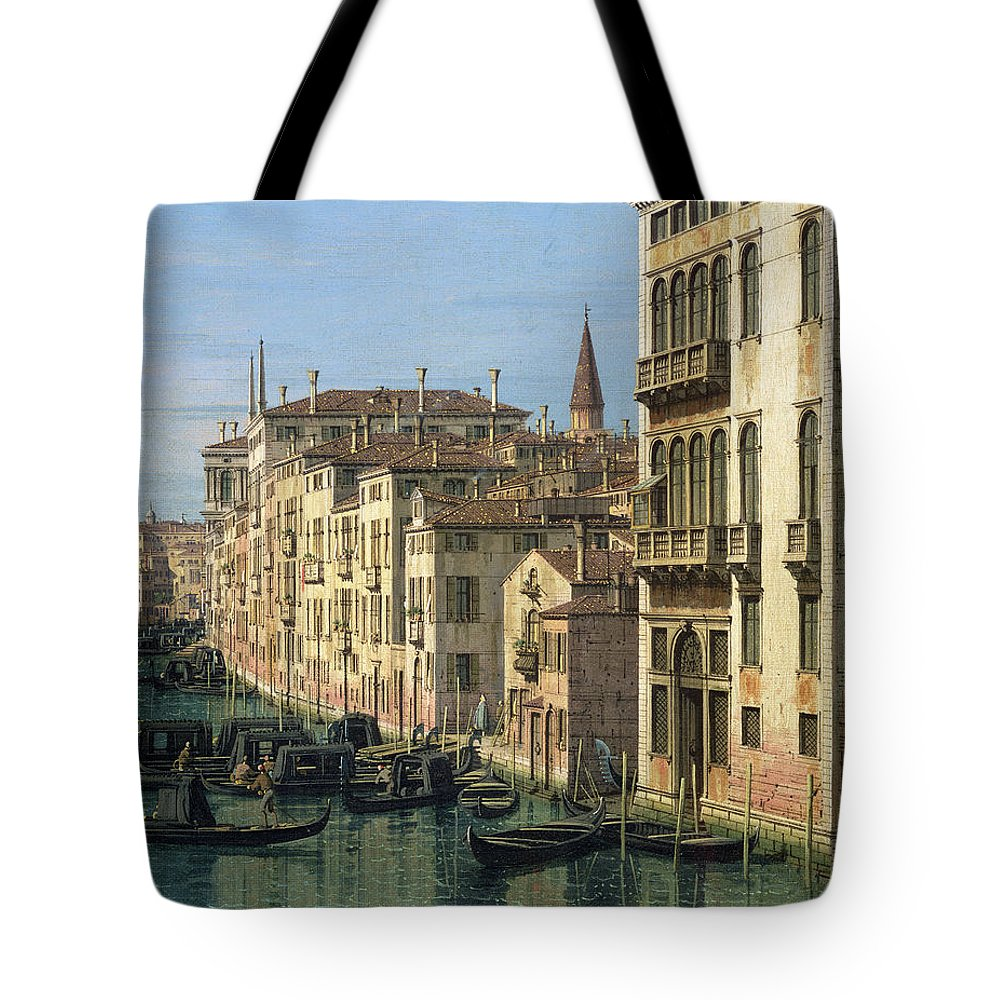 Entrance Tote Bag featuring the painting Entrance To The Grand Canal Looking West by Canaletto
