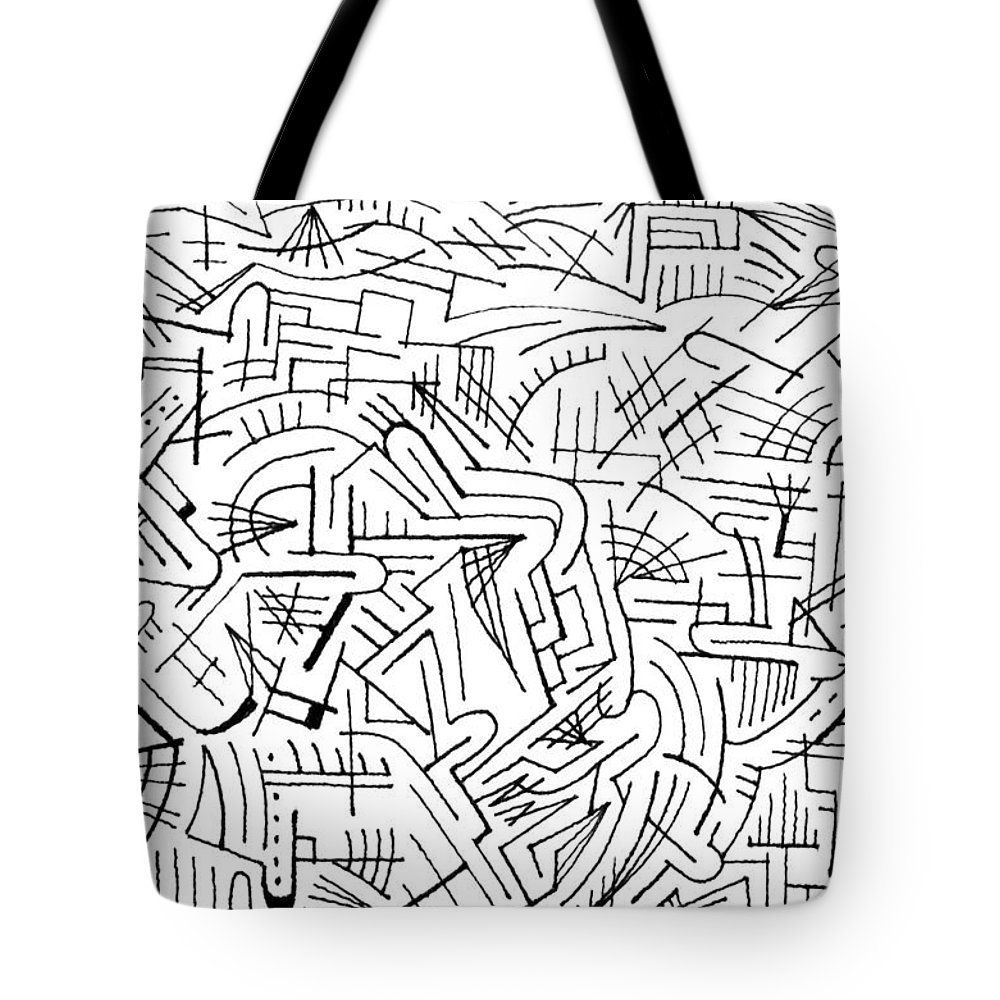 Mazes Tote Bag featuring the drawing Envisage by Steven Natanson