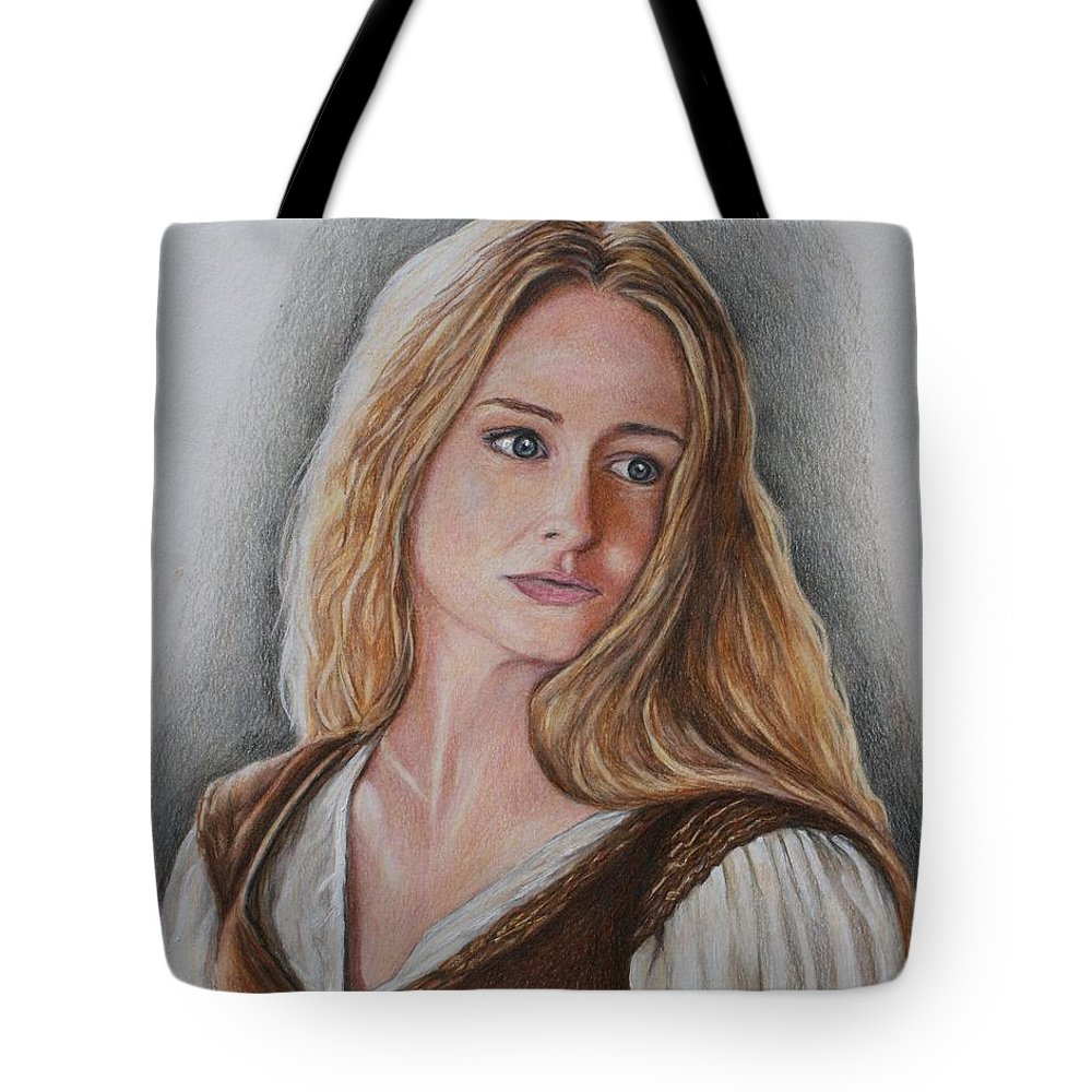 Lord Of The Rings Tote Bag featuring the drawing Eowyn by Christine Jepsen