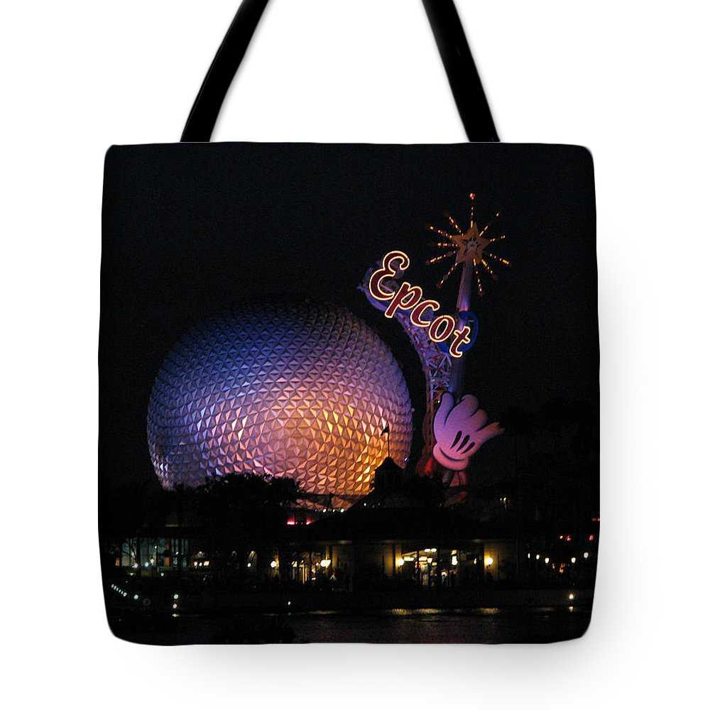 Epcot Tote Bag featuring the photograph Epcot At Night II by Stacey May