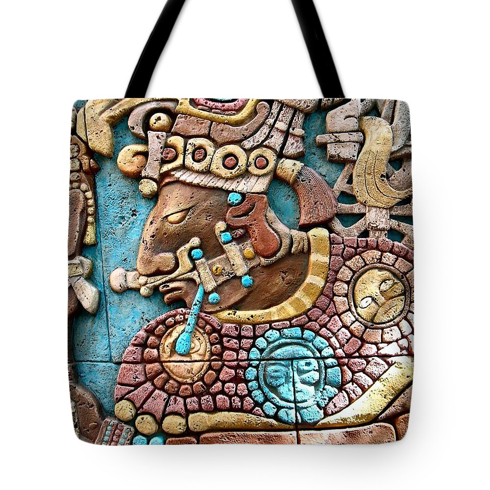 Aztec Tote Bag featuring the photograph Epcot Mayan Warrior by Nora Martinez