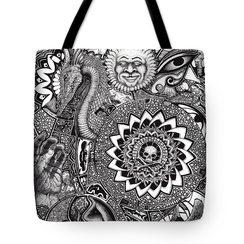 Black And White Tote Bag featuring the drawing Epiphany by Tobey Anderson
