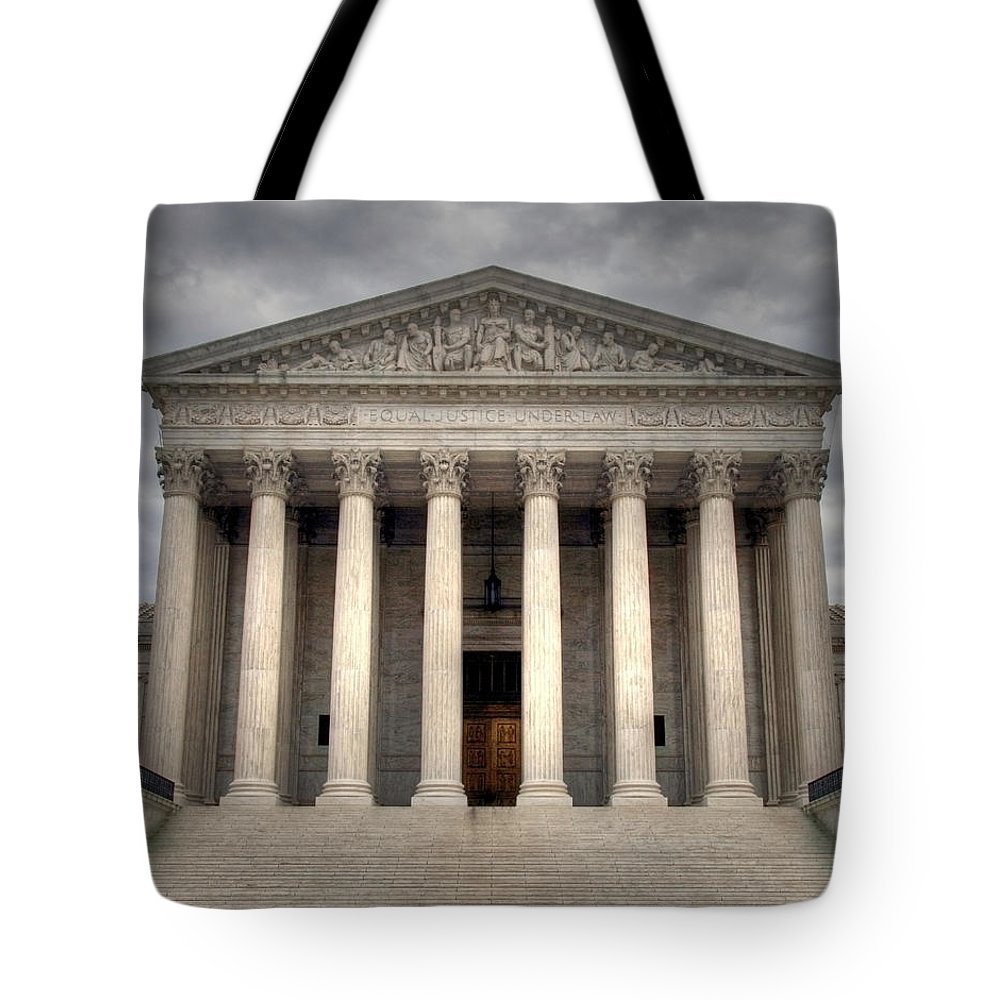 Law Tote Bag featuring the photograph Equal Justice by Mitch Cat