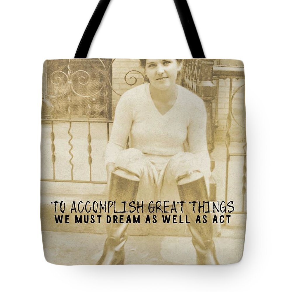 Vintage Tote Bag featuring the photograph Equestrian Quote by JAMART Photography