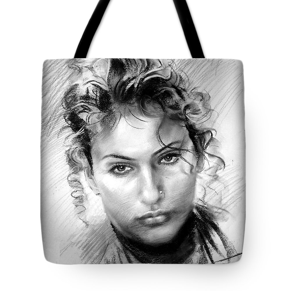 Portrait Tote Bag featuring the drawing Erbora by Ylli Haruni