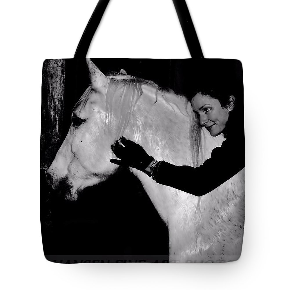White Horse Tote Bag featuring the digital art Erin and Mikey by Dawn Johansen