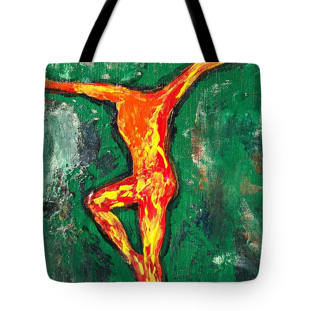Fire Tote Bag featuring the painting Erin by Laurette Escobar