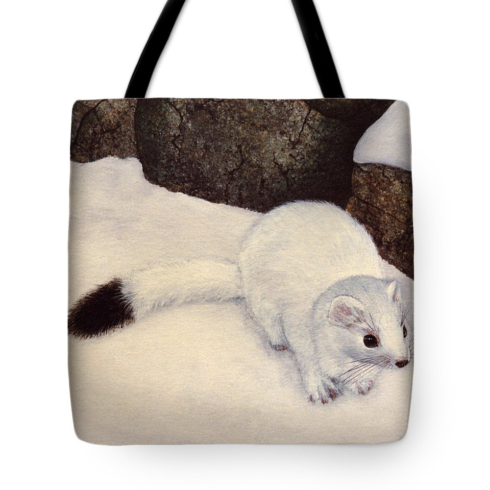 Wildlife Tote Bag featuring the painting Ermine In Winter by Frank Wilson