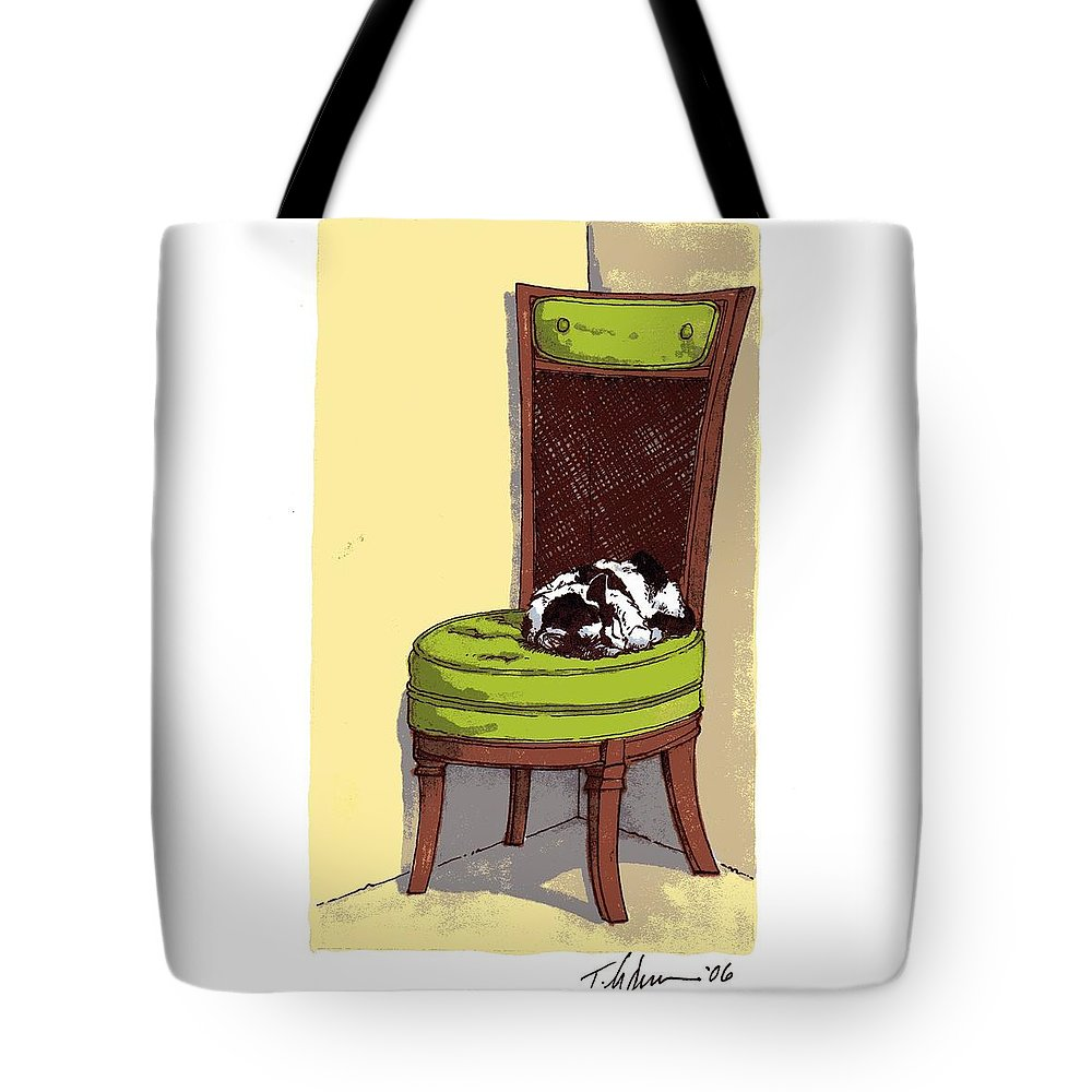 Cat Tote Bag featuring the drawing Ernie And Green Chair by Tobey Anderson