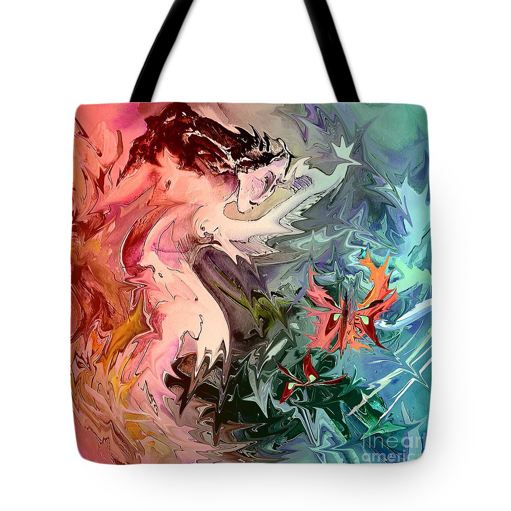 Miki Tote Bag featuring the painting Eroscape 08 1 by Miki De Goodaboom