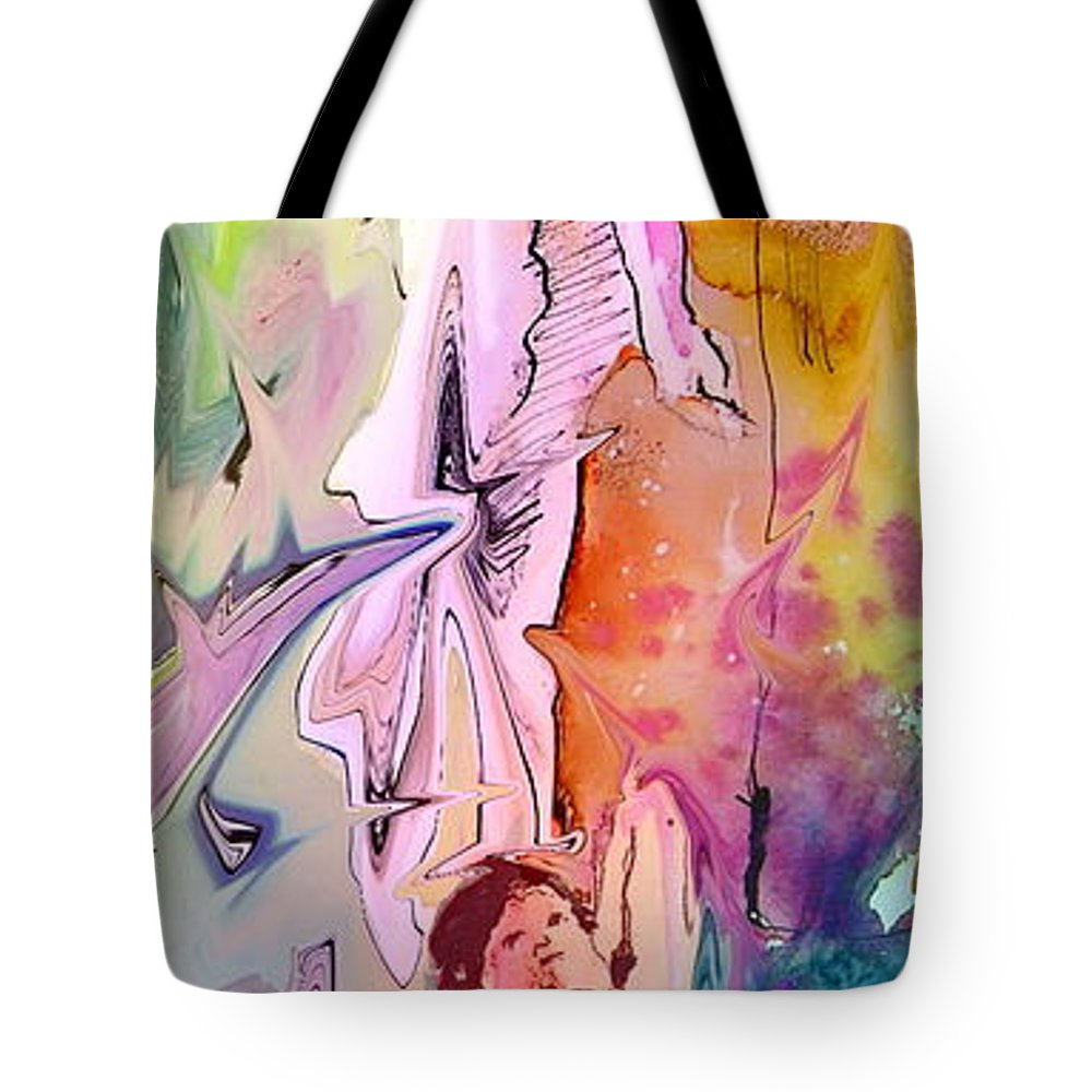 Miki Tote Bag featuring the painting Eroscape 09 1 by Miki De Goodaboom
