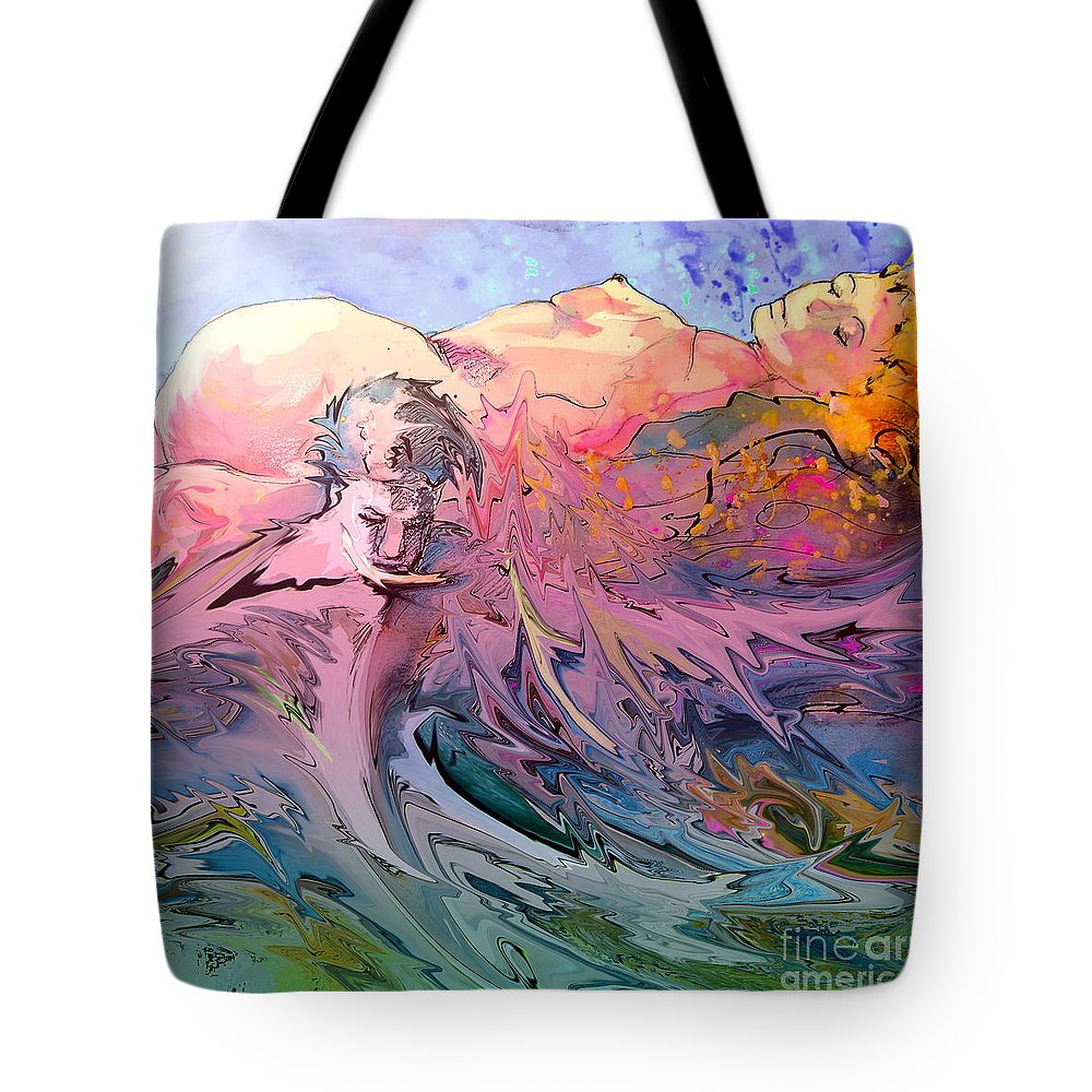 Miki Tote Bag featuring the painting Eroscape 10 by Miki De Goodaboom