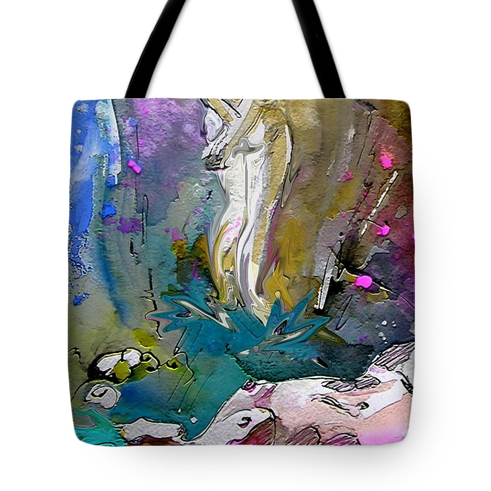 Miki Tote Bag featuring the painting Eroscape 1104 by Miki De Goodaboom