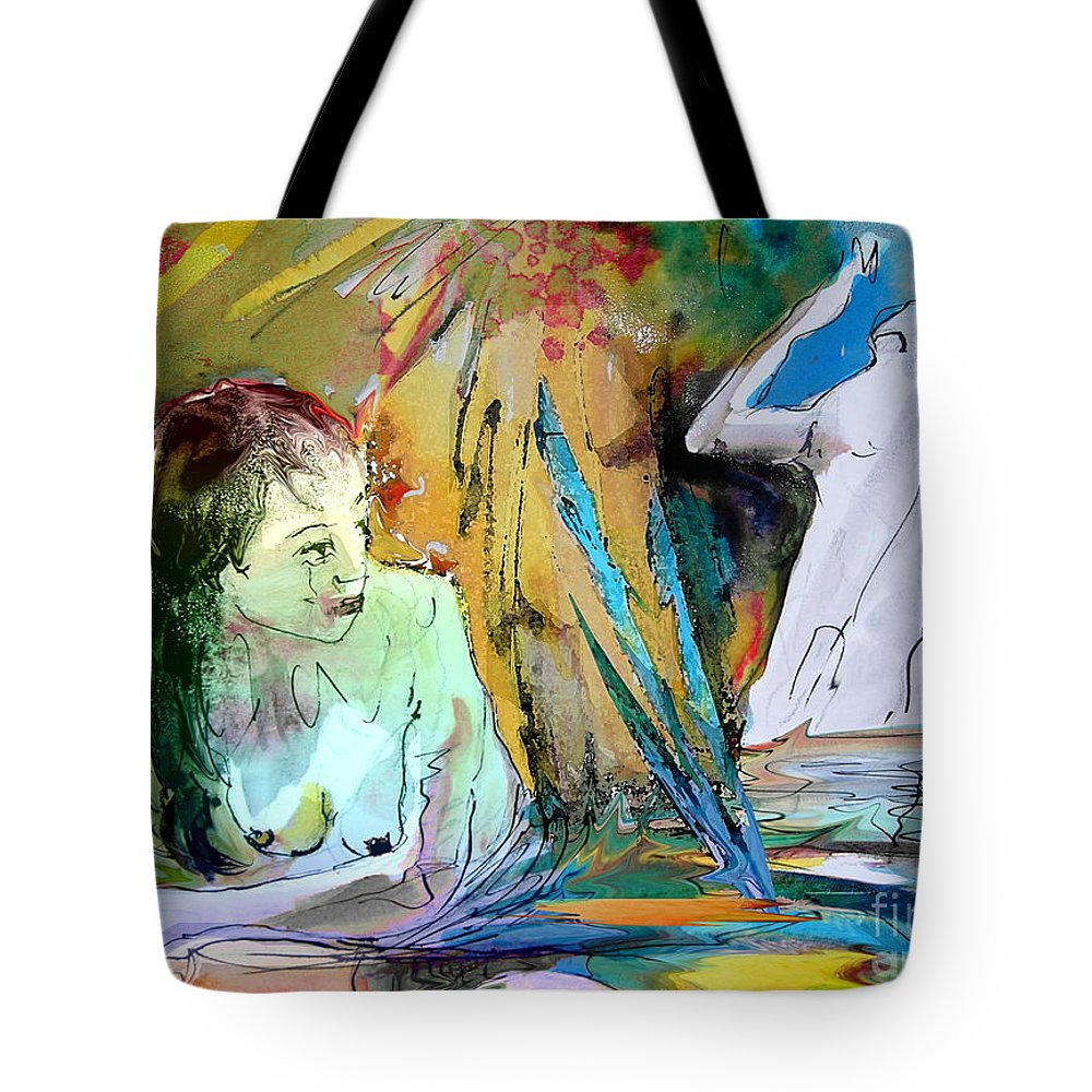 Miki Tote Bag featuring the painting Eroscape 15 1 by Miki De Goodaboom