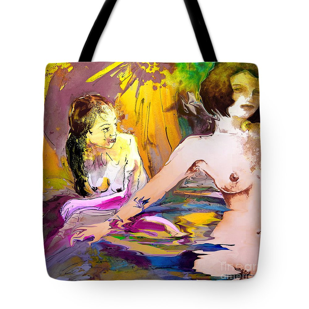 Miki Tote Bag featuring the painting Eroscape 15 2 by Miki De Goodaboom
