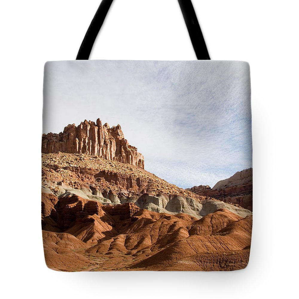 Erosion Tote Bag featuring the photograph Erosion Shows The Layers Of Sediment by Taylor S. Kennedy