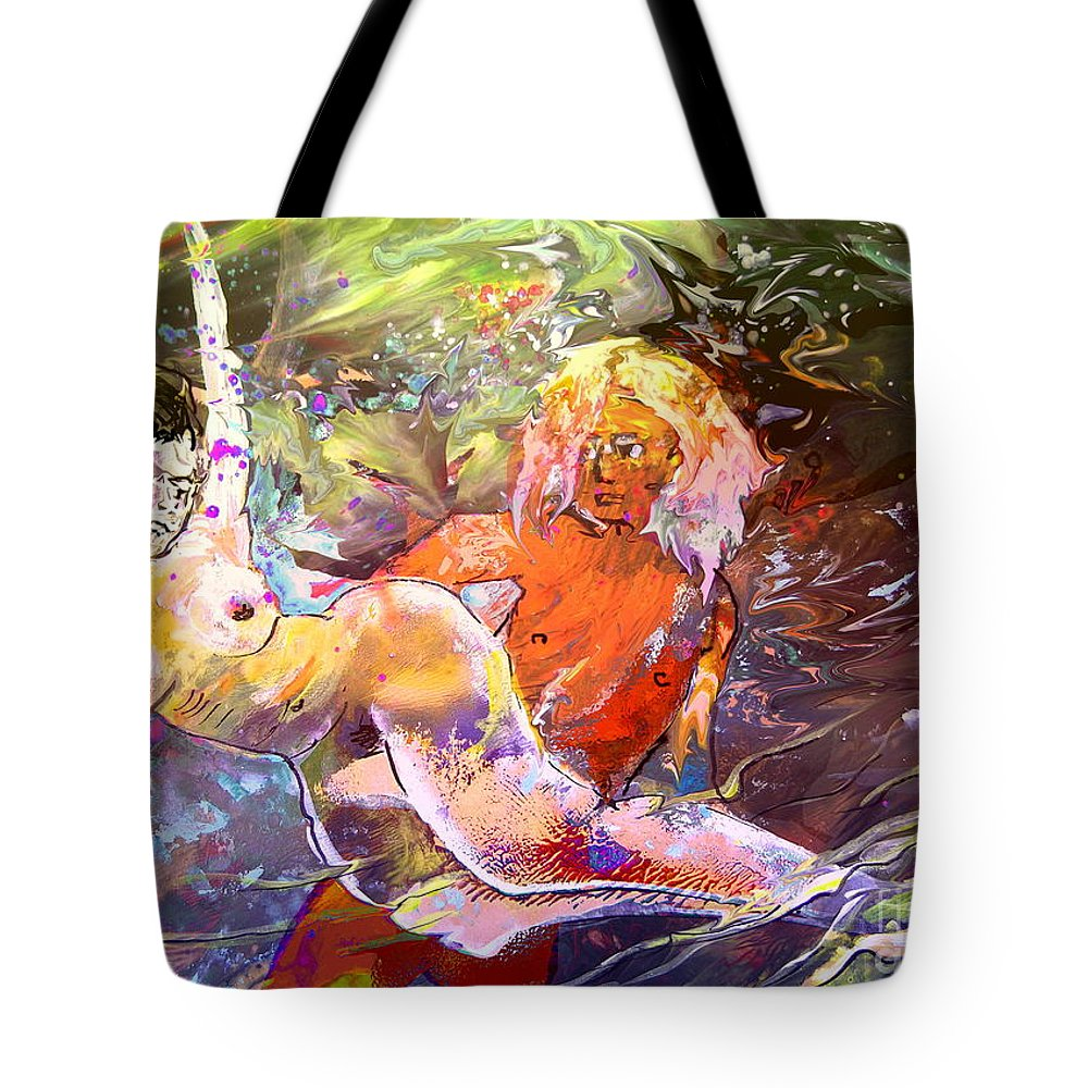 Miki Tote Bag featuring the painting Erotype 06 1 by Miki De Goodaboom