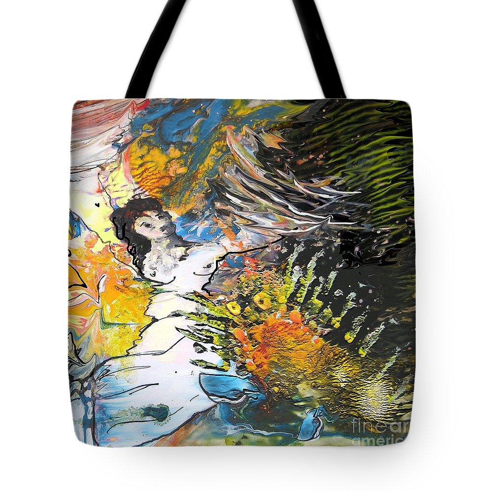 Miki Tote Bag featuring the painting Erotype 07 2 by Miki De Goodaboom