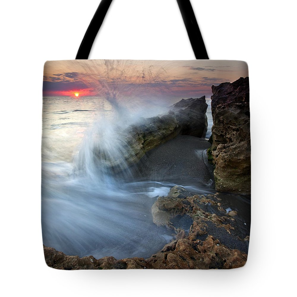 Blowing Rocks Tote Bag featuring the photograph Eruption At Dawn by Mike Dawson