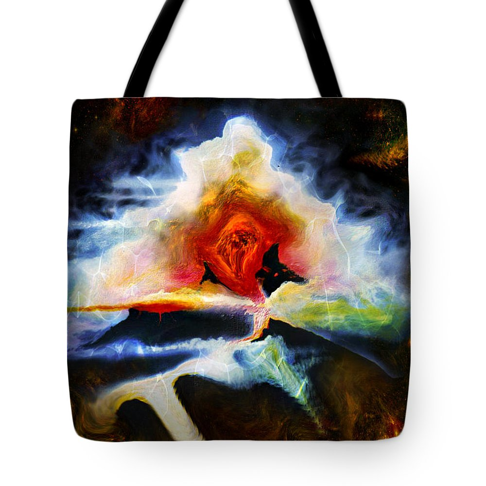 Painting Tote Bag featuring the painting Eruption by David Neace