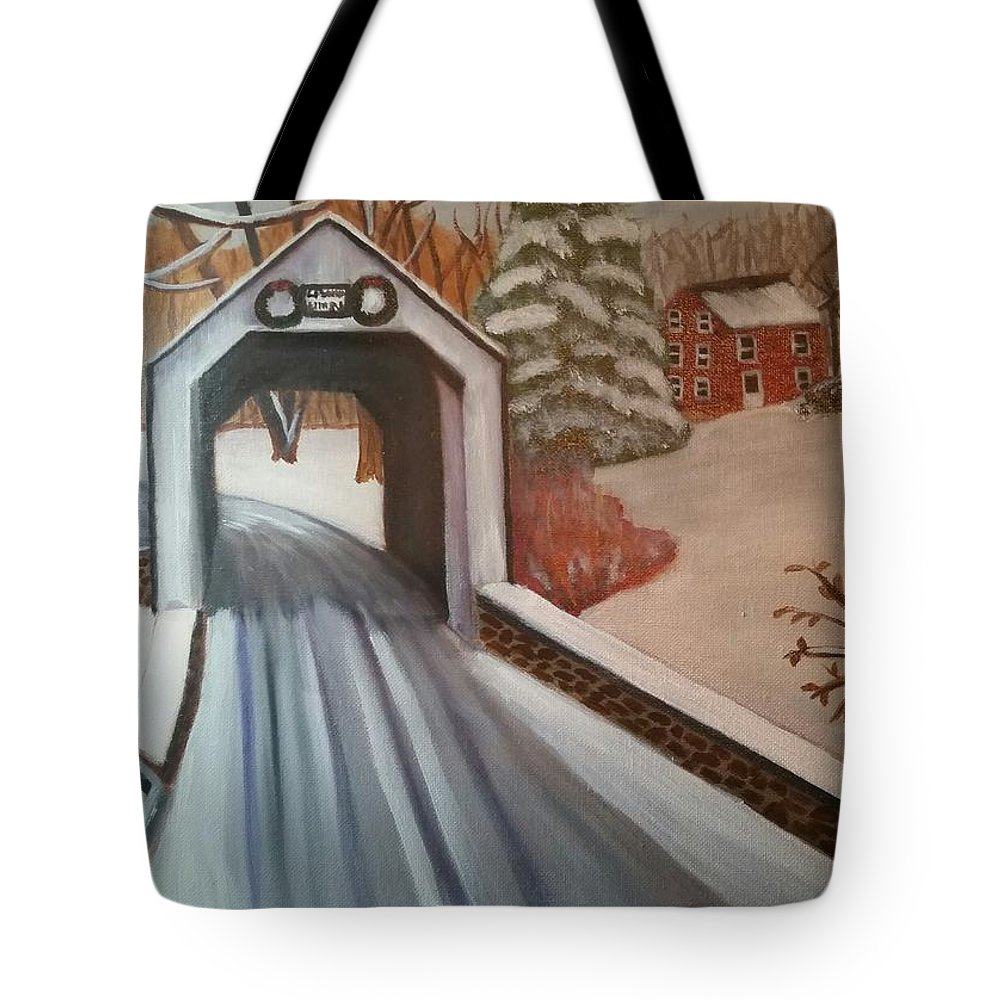 Bucks County Tote Bag featuring the painting Erwina Covered Bridge, Pa by Tina Mostov