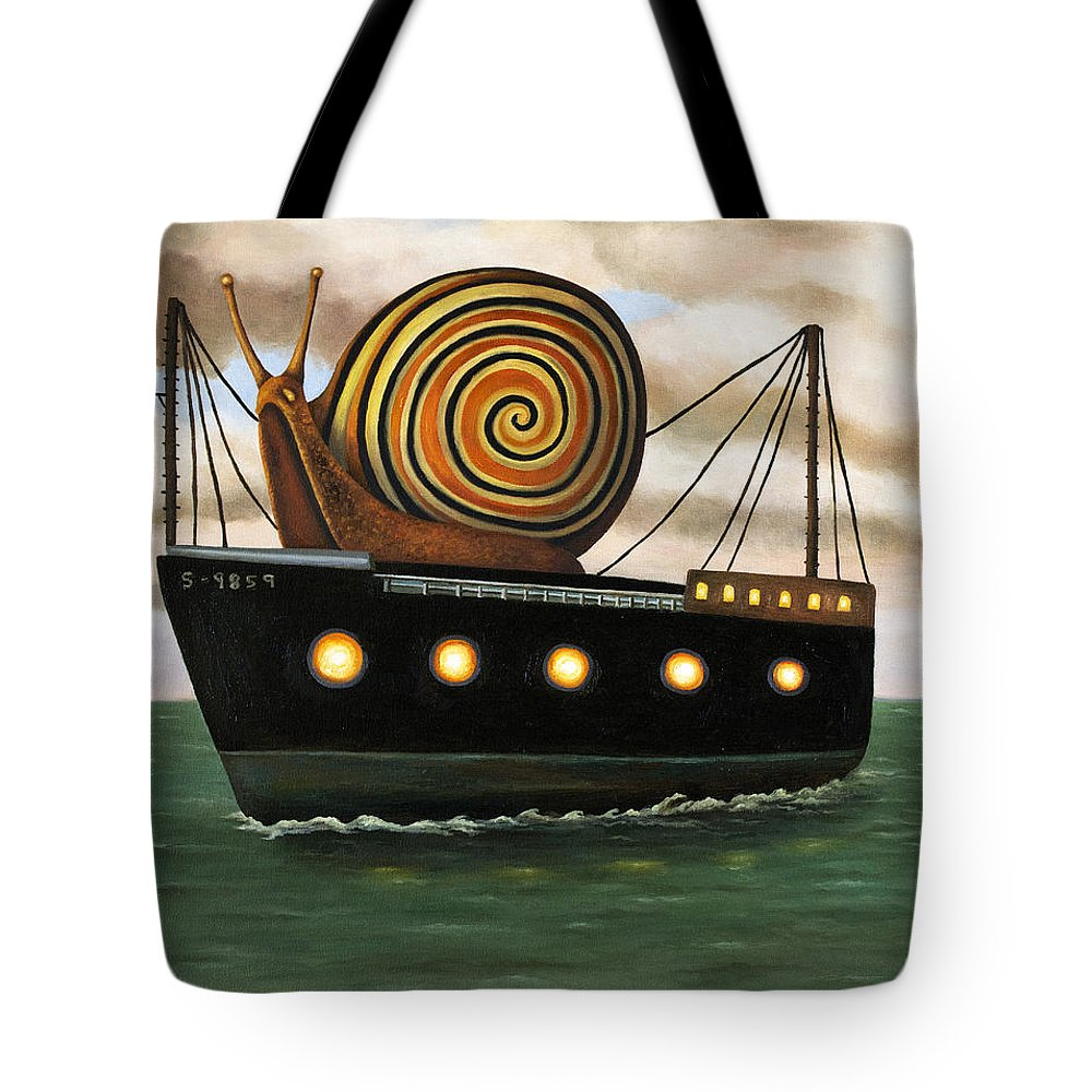Snail Tote Bag featuring the painting Es Cargo by Leah Saulnier The Painting Maniac