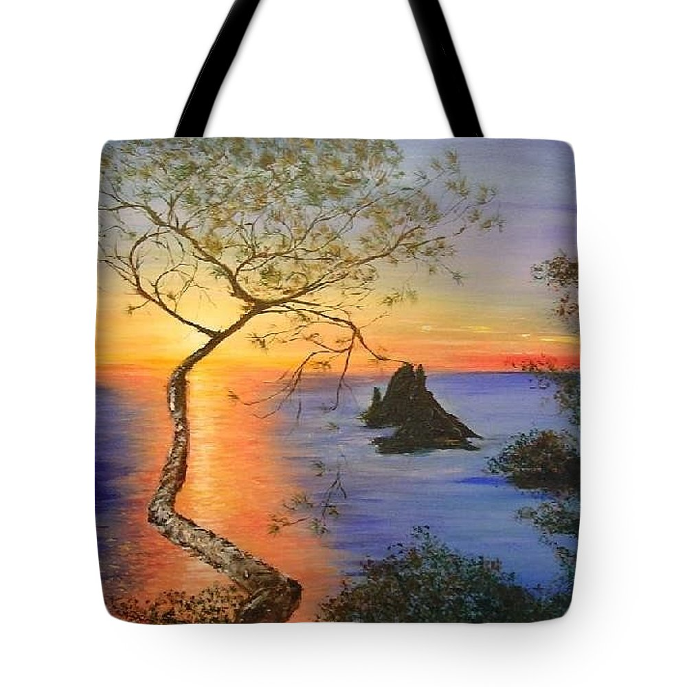 Sunset Tote Bag featuring the painting Es Vedra Island Off Ibiza South Coast by Lizzy Forrester