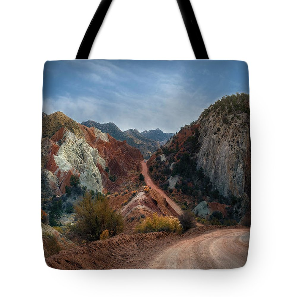 Grand Staircase Escalante National Monument Tote Bag featuring the photograph Grand Staircase Escalante Road by Gary Warnimont