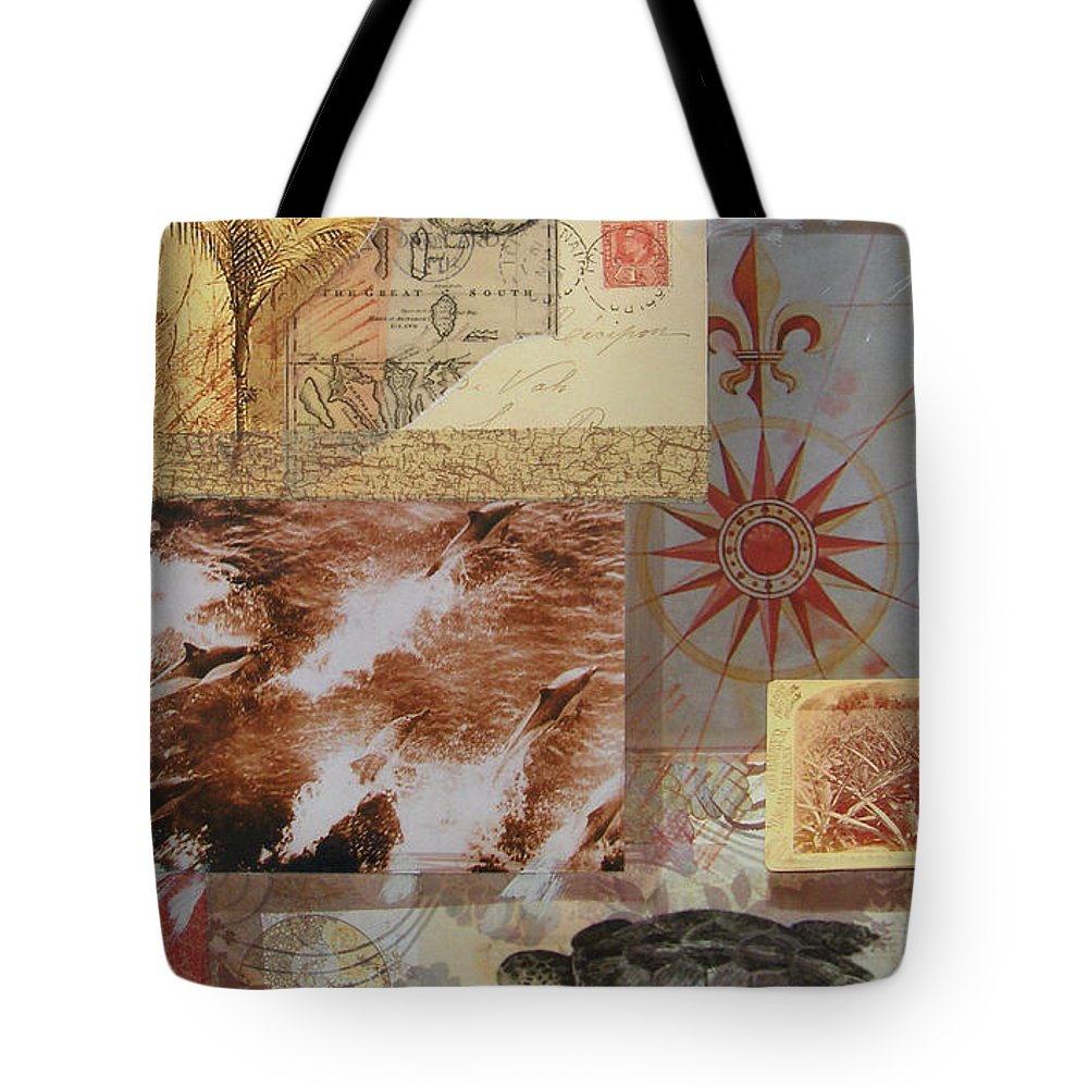 Travel Tote Bag featuring the mixed media Escape And Explore IIi by Leigh Banks