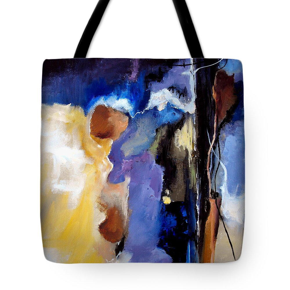 Abstract Tote Bag featuring the painting Escape Attempt by Ruth Palmer