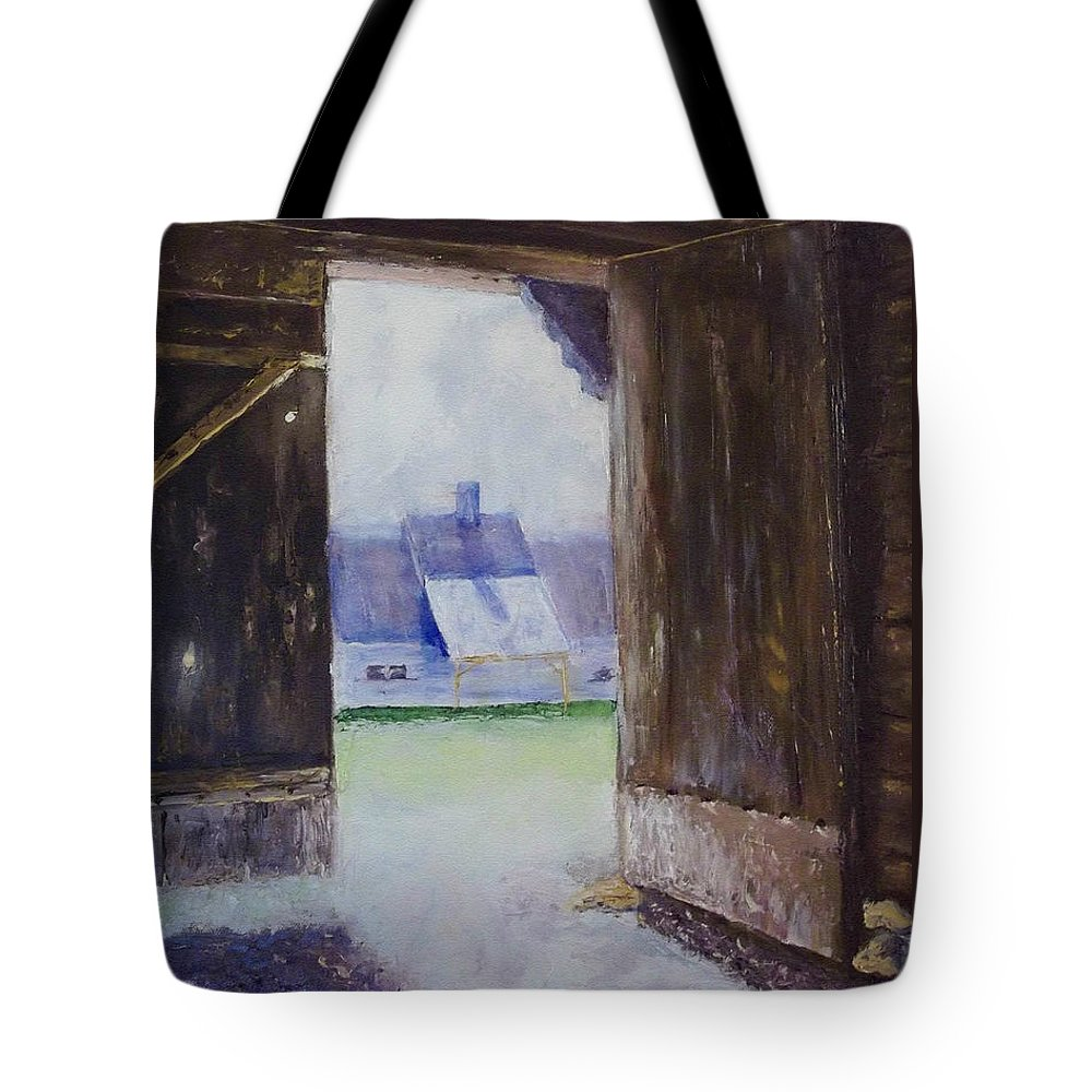 Shed Tote Bag featuring the painting Escape The Sun by Stephen King
