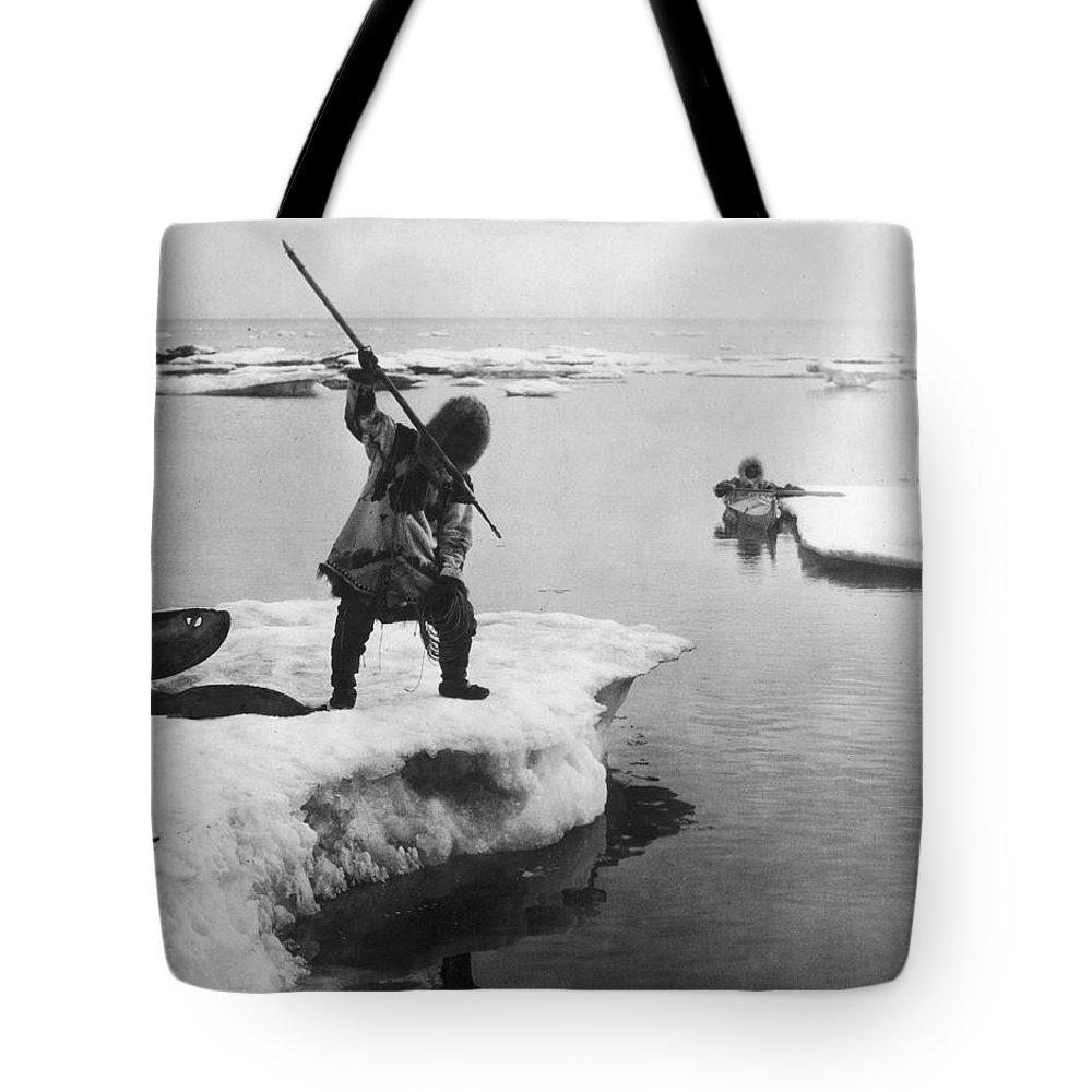 19th Century Tote Bag featuring the photograph Eskimo Fishermen by Granger